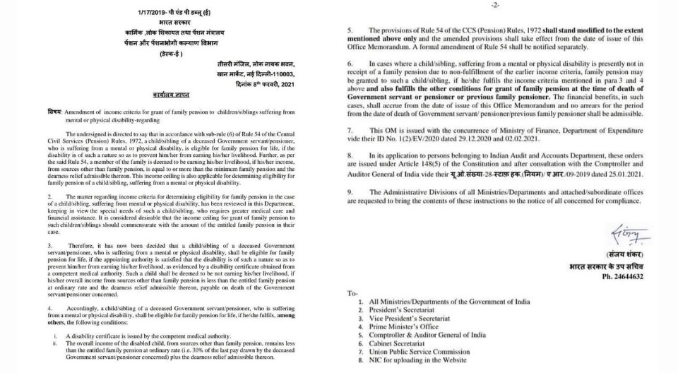 Amendment of income criteria for grant of family pension to children/ siblings suffering from mental or physical disability